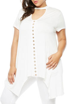 Plus Size Short Sleeve Shark Bite Top with Metal Accents - IVORY - 3912058759110