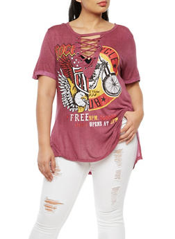 Plus Size Short Sleeve Lace Up Graphic Top - 3912058759267