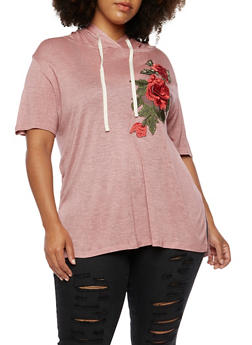 Plus Size Hooded Top with Rose Applique - 3912058759276