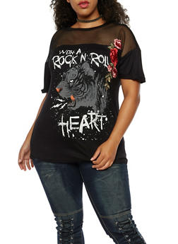 Plus Size Rock N Roll Mesh Graphic Top - 3912058759678