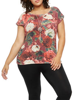 Plus Size Floral Knit Top with Necklace - 3912058759914