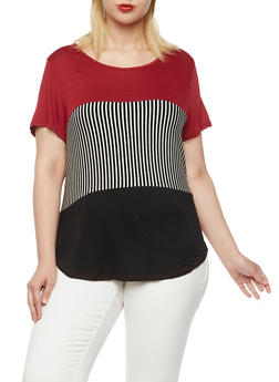 Plus Size Colorblock Knit Top with Stripes - 3912058930002
