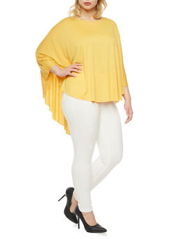 Plus Size Cape Top with High Low Hem - MUSTARD - 3912058930007