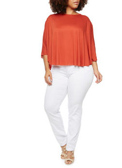 Plus Size Cape Top with High Low Hem - 3912058930007