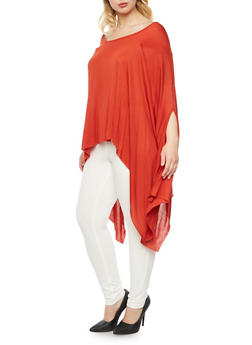 Plus Size Poncho Top with Asymmetrical Hem - 3912058930008