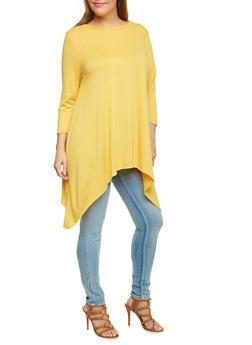 Plus Size Asymmetrical Knit Top - 3912058930009