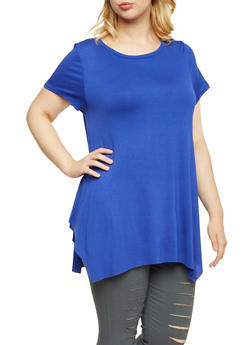 Plus Size Asymmetrical Top with Short Sleeves - 3912058930010