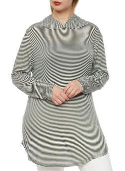 Plus Size Striped Tunic Top with Hood - 3912058930013