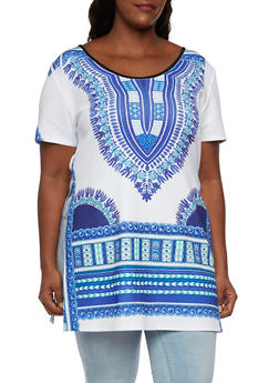 Plus Size Dashiki Print Tunic Top with Split Sides - 3912058930017