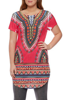 Plus Size Dashiki Print Tunic Top - 3912058930091