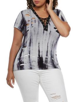 Plus Size Tie Dye Lace Up T Shirt - 3912058930256