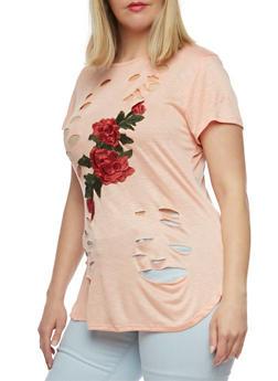 Plus Size Lasercut Embroidered T Shirt - BLUSH - 3912058930413