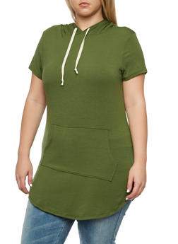 Plus Size Hooded Tunic Top - 3912058930520