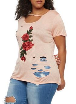 Plus Size Floral Applique T Shirt - BLUSH - 3912058930553