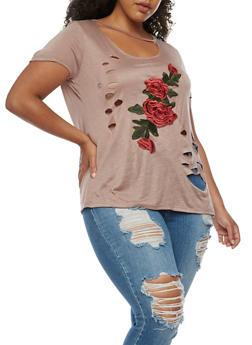 Plus Size Floral Applique T Shirt - 3912058930553