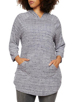 Plus Size Hooded Tunic Top in Rib Knit - 3912058930810