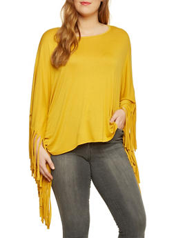 Plus Size Poncho Top with Fringe Accents - MUSTARD - 3912058930813