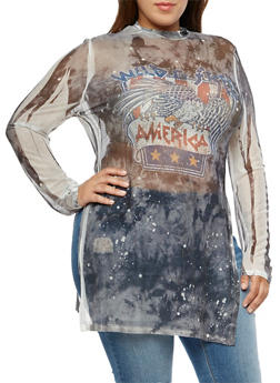 Plus Size Long Sleeve Wild Free America Graphic Tunic - 3912058931413