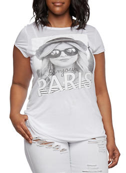 Plus Size Top with Bonjour Paris Graphic - 3912058931624