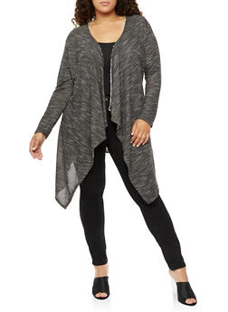 Plus Size Laser Cut Long Sleeve Duster - 3912058931713