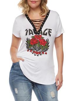 Plus Size Savage Lace Up T Shirt - 3912058932313