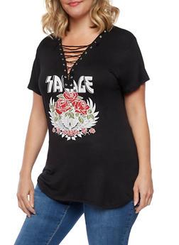 Plus Size Savage Lace Up T Shirt - 3912058932413
