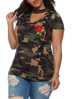Plus Size Camouflage Top with Floral Applique - 3912058934012
