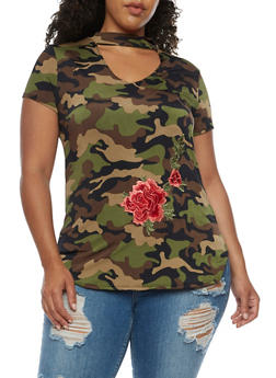 Plus Size Mesh Top with Floral Applique - 3912058934013