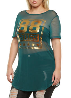 Plus Size Mesh Tunic Top with 88 Boss Graphic - 3912058934109