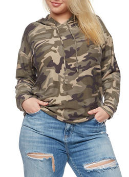 Plus Size Camo Hoodie - 3912058935023