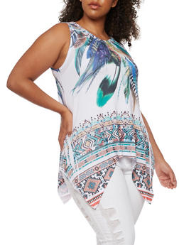 Plus Size Feather Print Sharkbite Top - 3912058935133