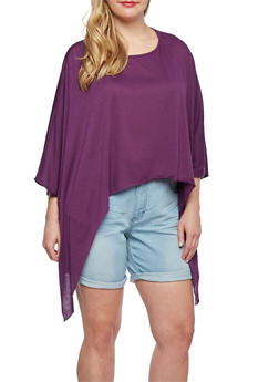 Plus Size Poncho Top with Asymmetrical Hem - 3912058935419