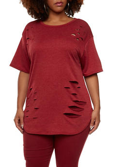 Plus Size Distressed Rip Top - 3912058935420