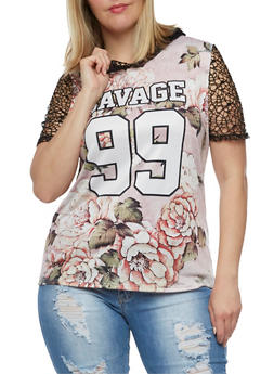 Plus Size Savage Graphic Mesh Hooded Top - 3912058936033