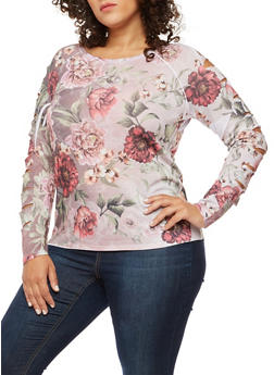 Plus Size Floral Slashed Long Sleeve Top - 3912058937208