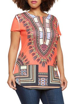 Plus Size Dashiki Print Tunic Top with Round Hem - 3912058937410
