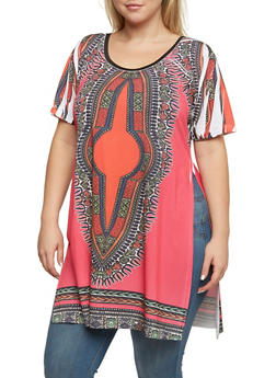 Plus Size Dashiki Print Top with Side Slits - 3912058937412