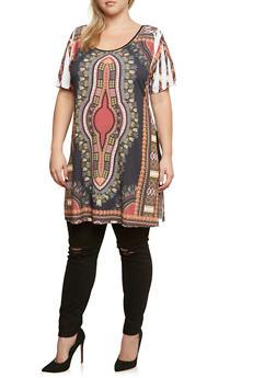 Plus Size Dashiki Print Tunic Top - 3912058937413