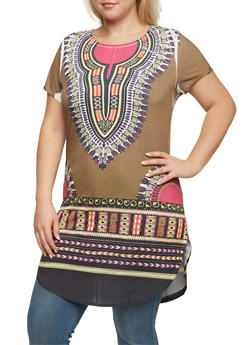 Plus Size Dashiki Print Tunic Top - 3912058937416