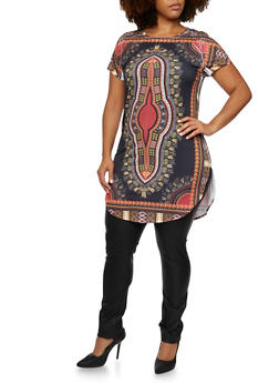 Plus Size Dashiki Print Tunic Top - GOLD - 3912058937416