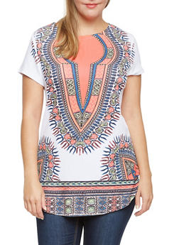 Plus Size Dashiki Print Tunic Top with Scoop Neck - 3912058937417