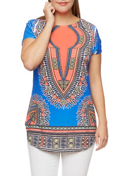 Plus Size Dashiki Print Tunic Top with Scoop Neck - 3912058937417