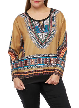 Plus Size Neoprene Top with Dashiki Print - 3912058937418