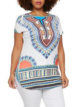 Plus Size Dashiki Print Tunic Top with Scoop Neck - 3912058937419