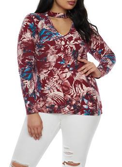 Plus Size Soft Knit Choker Neck Top - 3912060582730