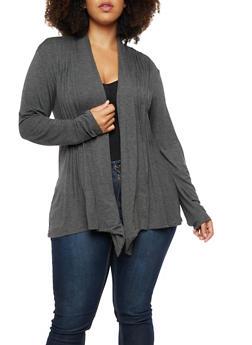 Plus Size Pleated Jersey Cardigan - 3912062706133