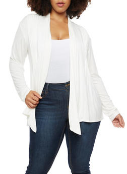 Plus Size Pleated Jersey Cardigan - WHITE - 3912062706133