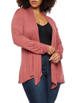 Plus Size Pleated Jersey Cardigan - 3912062706133