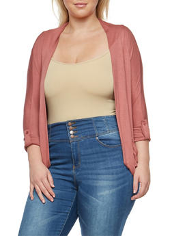 Plus Size Ruched Cardigan with Tab Sleeves - 3912062706343