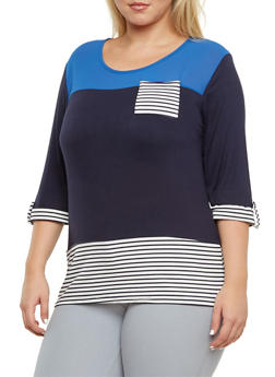 Plus Size Color Block Striped Pocket Tee - 3912062706389